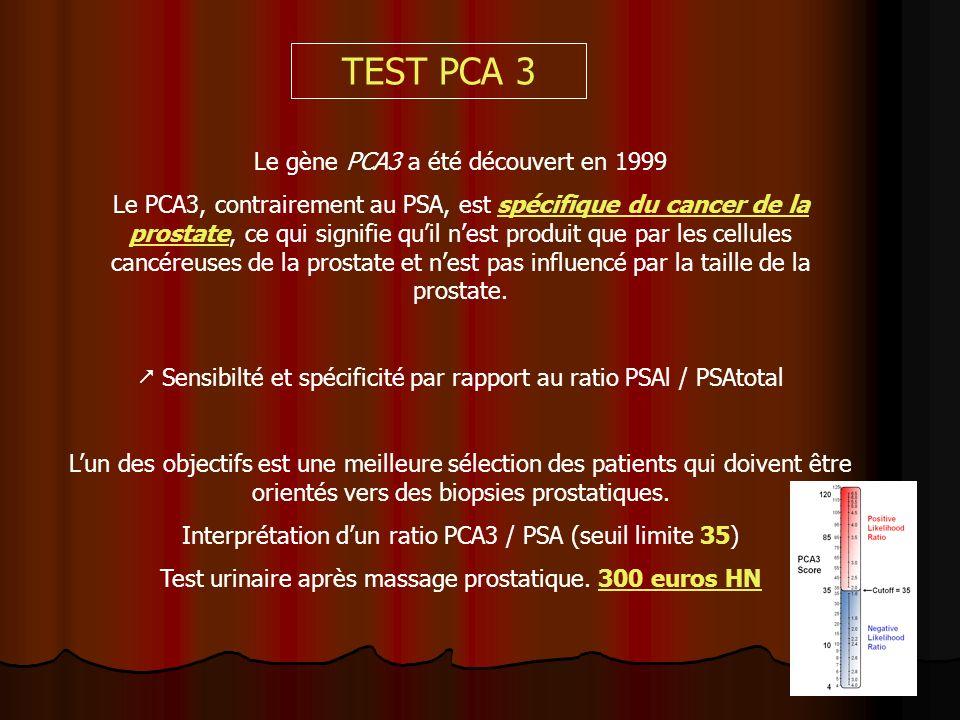 TEST PCA 3 Le gène PCA3 a été découvert en 1999
