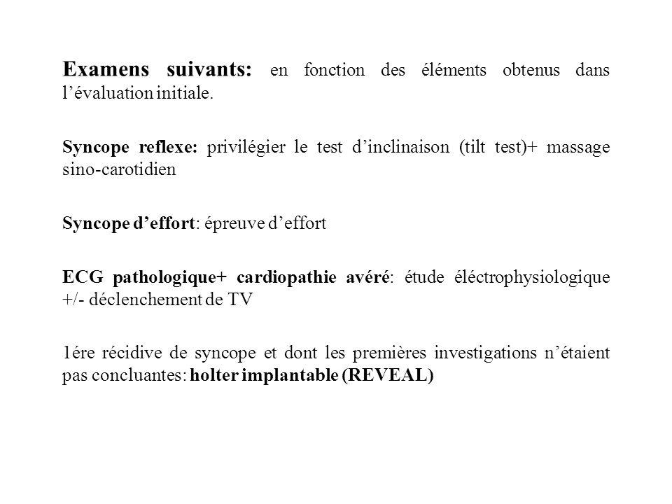 Examens suivants: en fonction des éléments obtenus dans l'évaluation initiale.