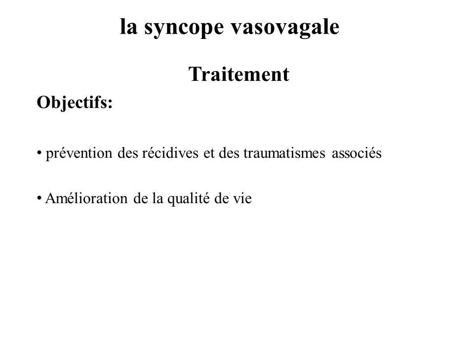 la syncope vasovagale Traitement Objectifs: