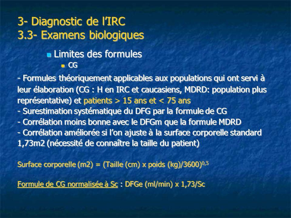 3- Diagnostic de l'IRC 3.3- Examens biologiques