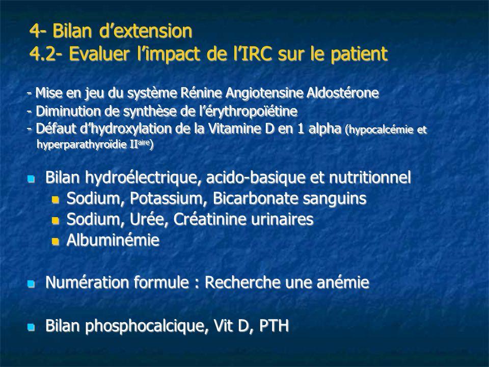 4- Bilan d'extension 4.2- Evaluer l'impact de l'IRC sur le patient