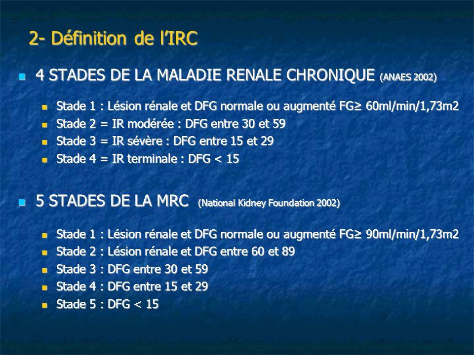 2- Définition de l'IRC 4 STADES DE LA MALADIE RENALE CHRONIQUE (ANAES 2002) Stade 1 : Lésion rénale et DFG normale ou augmenté FG≥ 60ml/min/1,73m2.