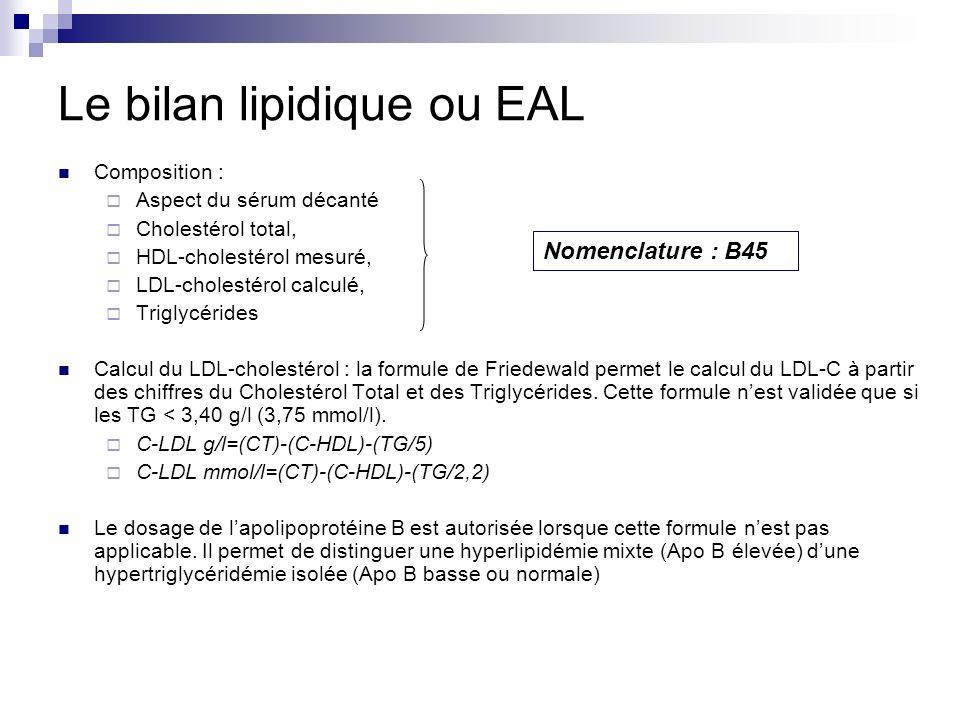 Le bilan lipidique ou EAL