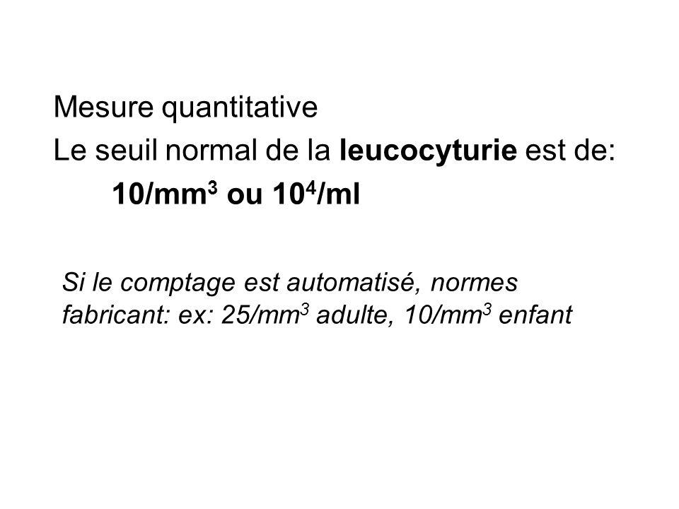 Mesure quantitativeLe seuil normal de la leucocyturie est de: 10/mm3 ou 104/ml.