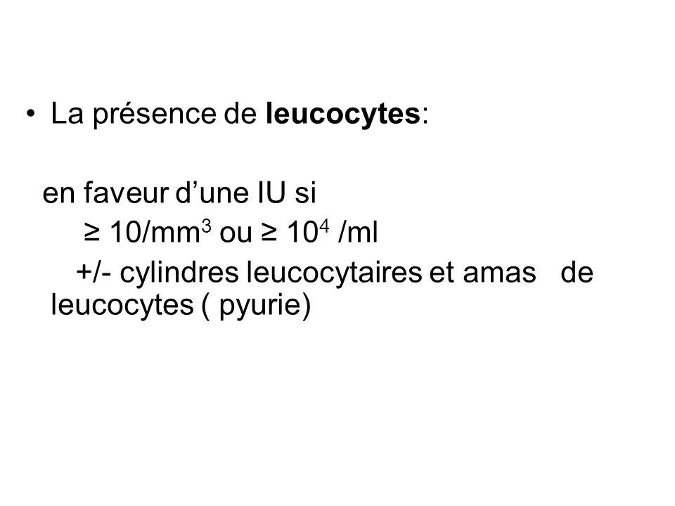 La présence de leucocytes: