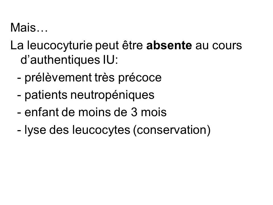 Mais…La leucocyturie peut être absente au cours d'authentiques IU: - prélèvement très précoce. - patients neutropéniques.