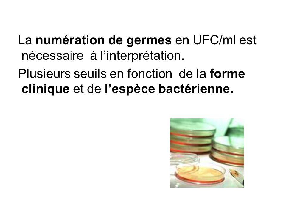 La numération de germes en UFC/ml est nécessaire à l'interprétation.
