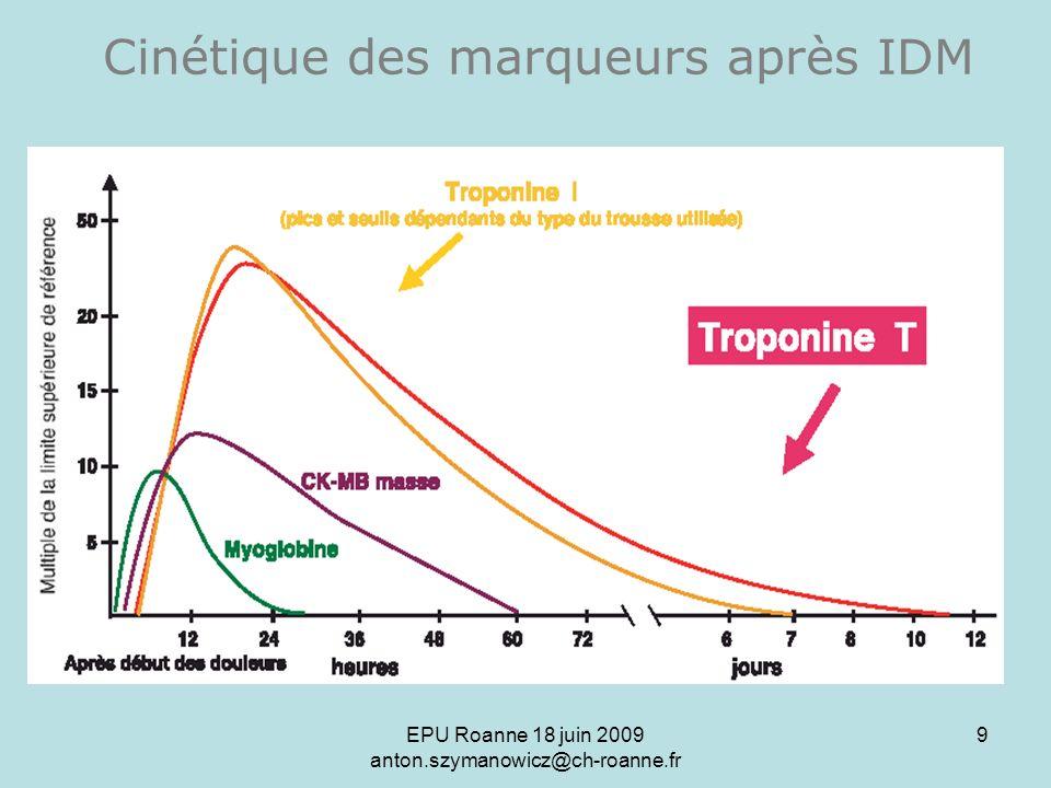 Cinétique des marqueurs après IDM