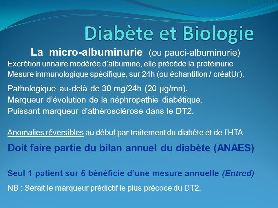 La micro-albuminurie (ou pauci-albuminurie)