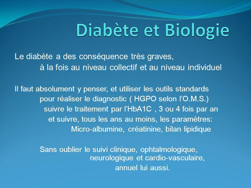 Diabète et Biologie Le diabète a des conséquence très graves,
