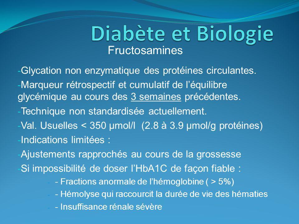 Diabète et Biologie Fructosamines