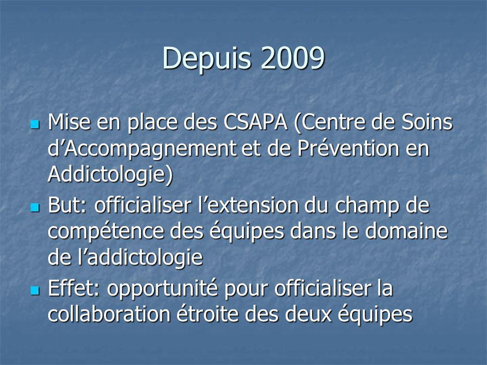 Depuis 2009 Mise en place des CSAPA (Centre de Soins d'Accompagnement et de Prévention en Addictologie)