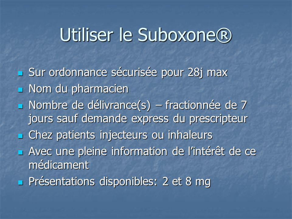Utiliser le Suboxone® Sur ordonnance sécurisée pour 28j max
