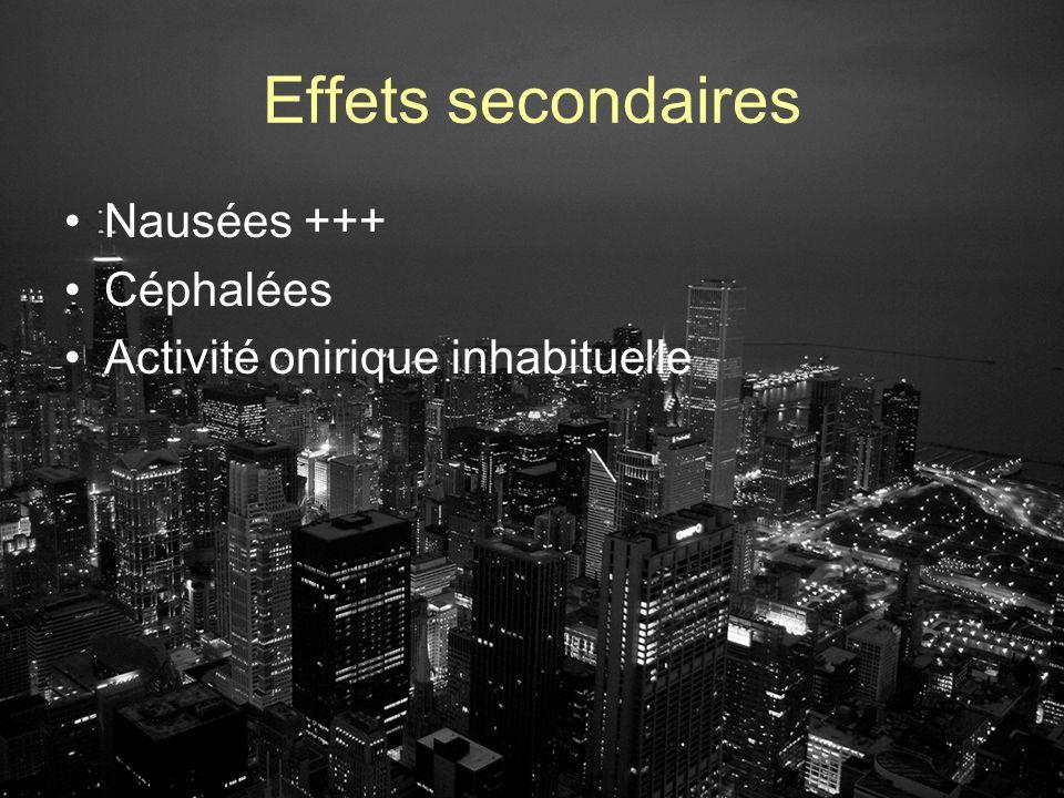 Effets secondaires Nausées +++ Céphalées