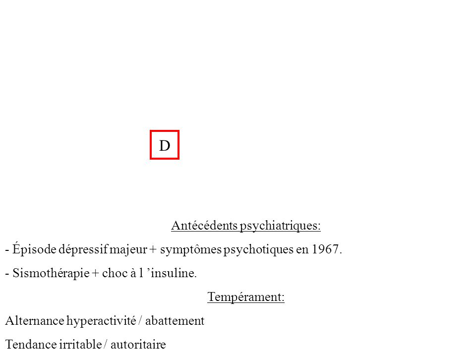 Antécédents psychiatriques: