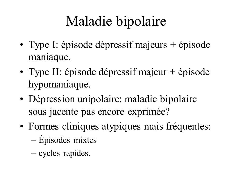 Maladie bipolaire Type I: épisode dépressif majeurs + épisode maniaque. Type II: épisode dépressif majeur + épisode hypomaniaque.