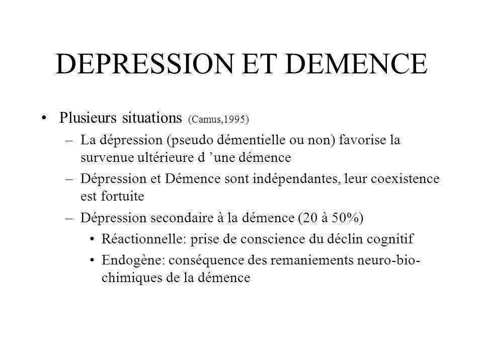 DEPRESSION ET DEMENCE Plusieurs situations (Camus,1995)