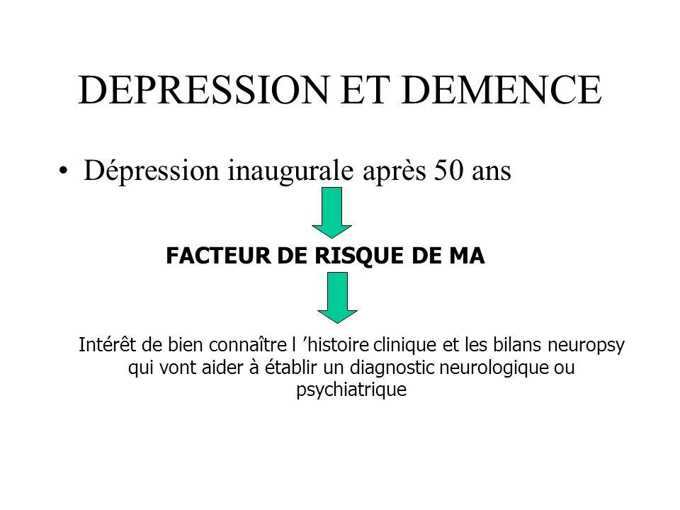 DEPRESSION ET DEMENCE Dépression inaugurale après 50 ans