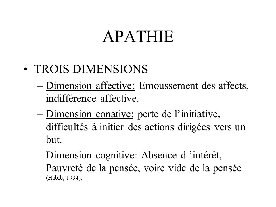 APATHIE TROIS DIMENSIONS