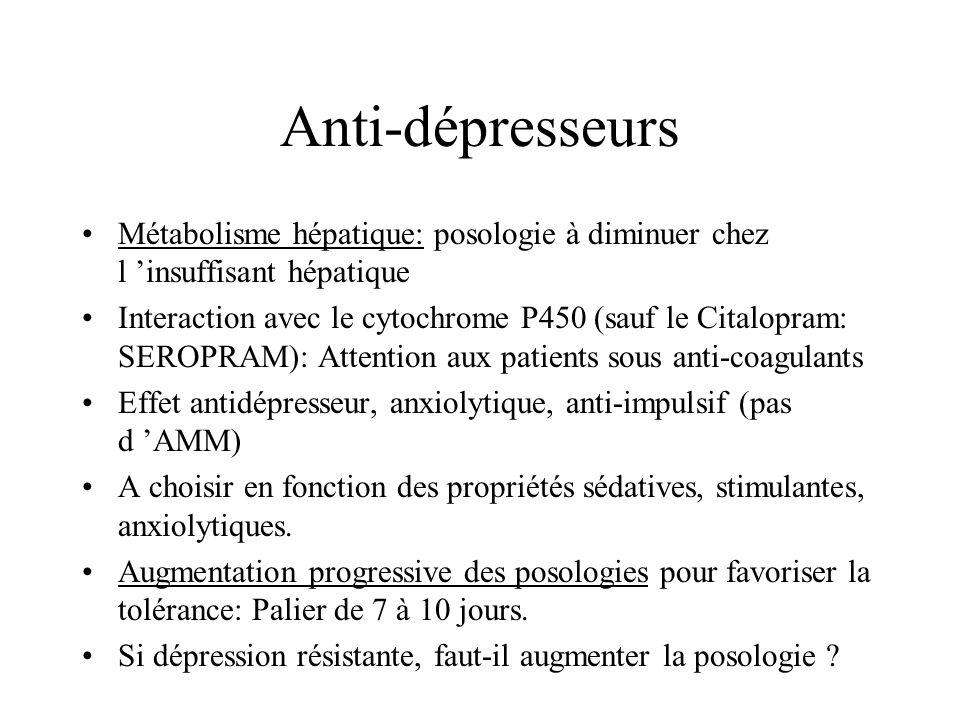 Anti-dépresseurs Métabolisme hépatique: posologie à diminuer chez l 'insuffisant hépatique.