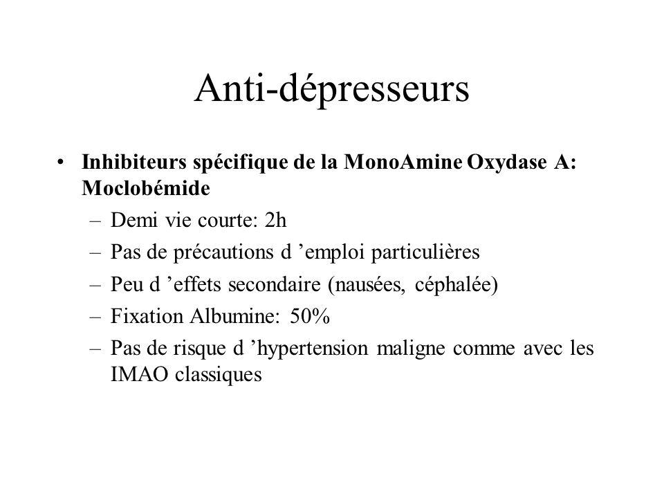 Anti-dépresseurs Inhibiteurs spécifique de la MonoAmine Oxydase A: Moclobémide. Demi vie courte: 2h.