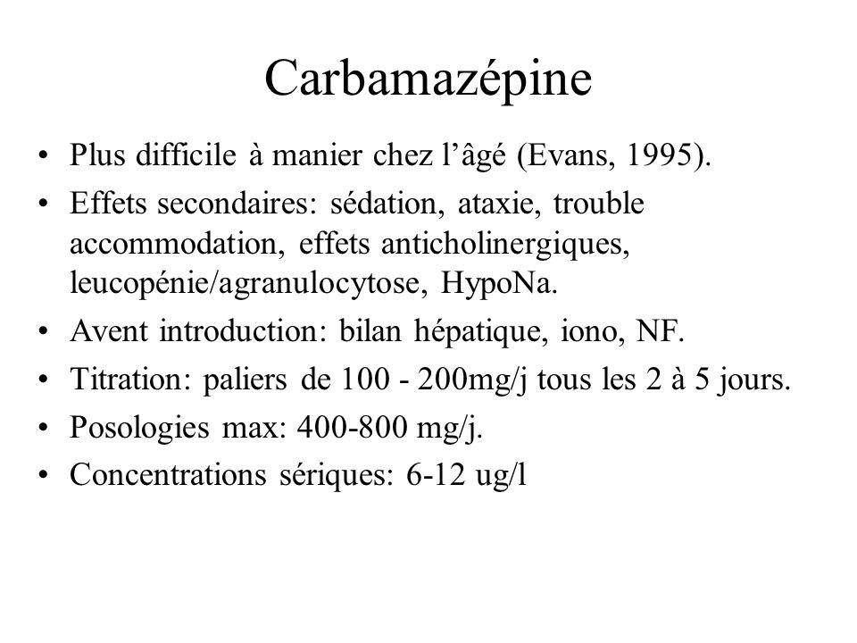Carbamazépine Plus difficile à manier chez l'âgé (Evans, 1995).
