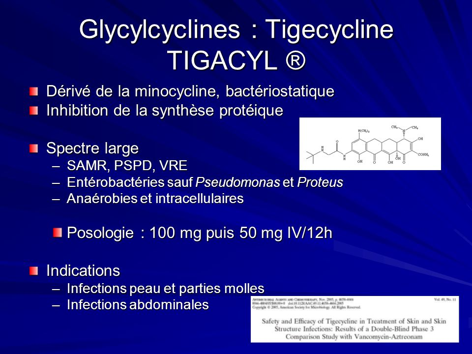 Glycylcyclines : Tigecycline TIGACYL ®