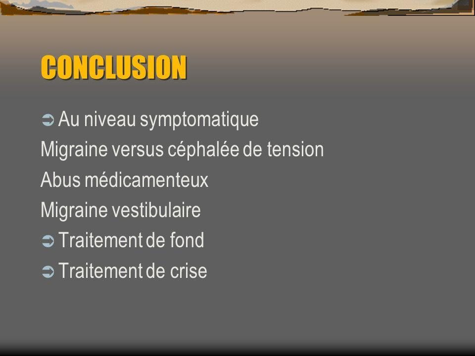 CONCLUSION Au niveau symptomatique Migraine versus céphalée de tension