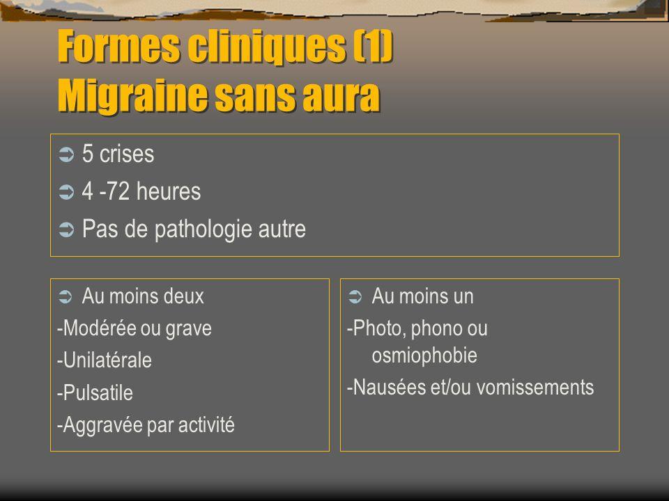 Formes cliniques (1) Migraine sans aura