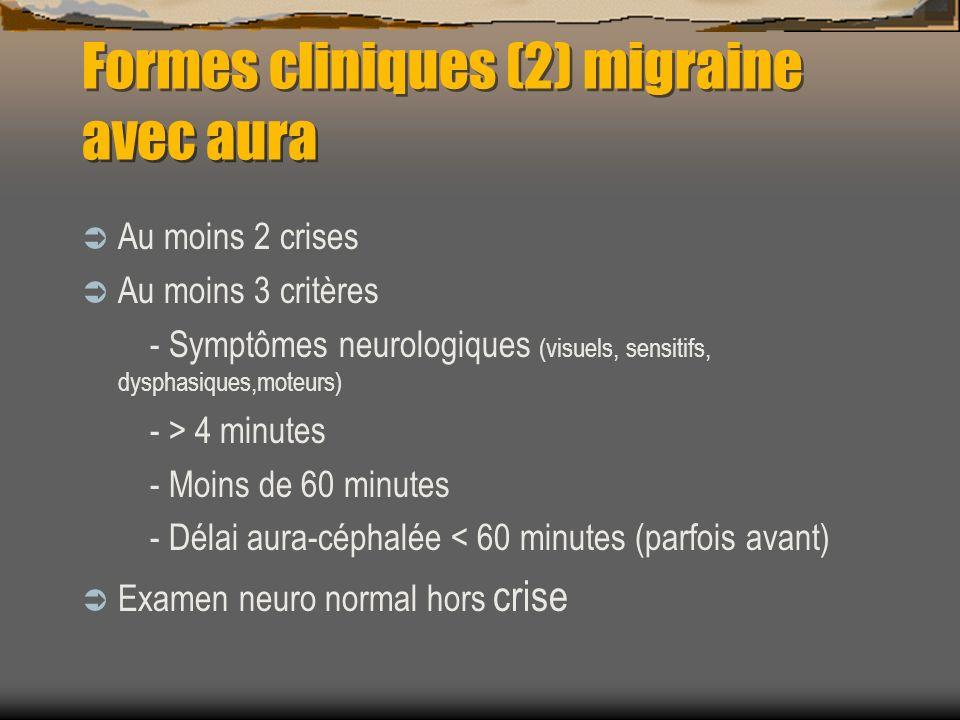 Formes cliniques (2) migraine avec aura