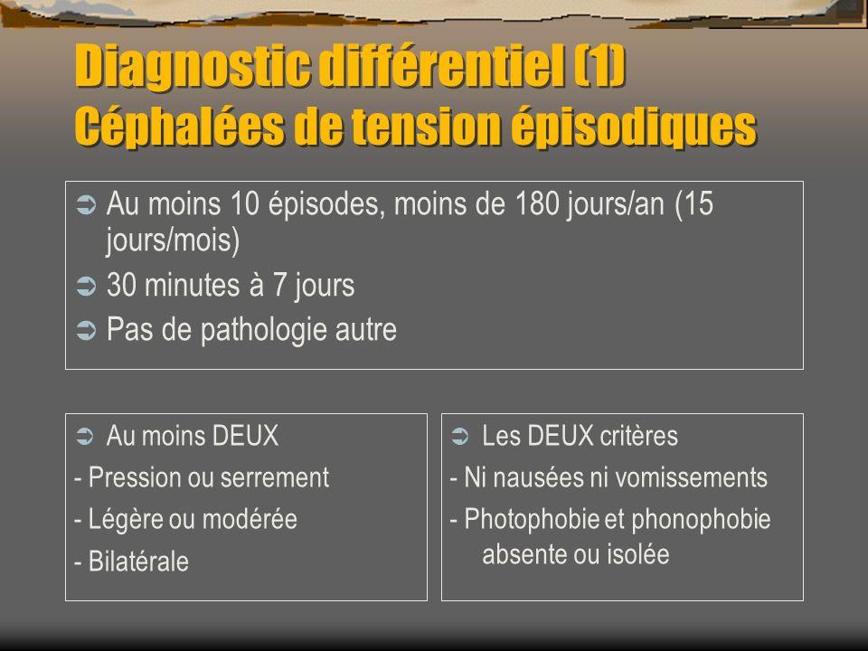 Diagnostic différentiel (1) Céphalées de tension épisodiques