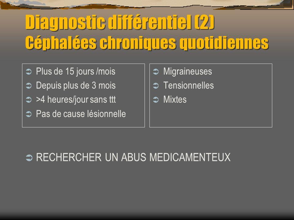 Diagnostic différentiel (2) Céphalées chroniques quotidiennes