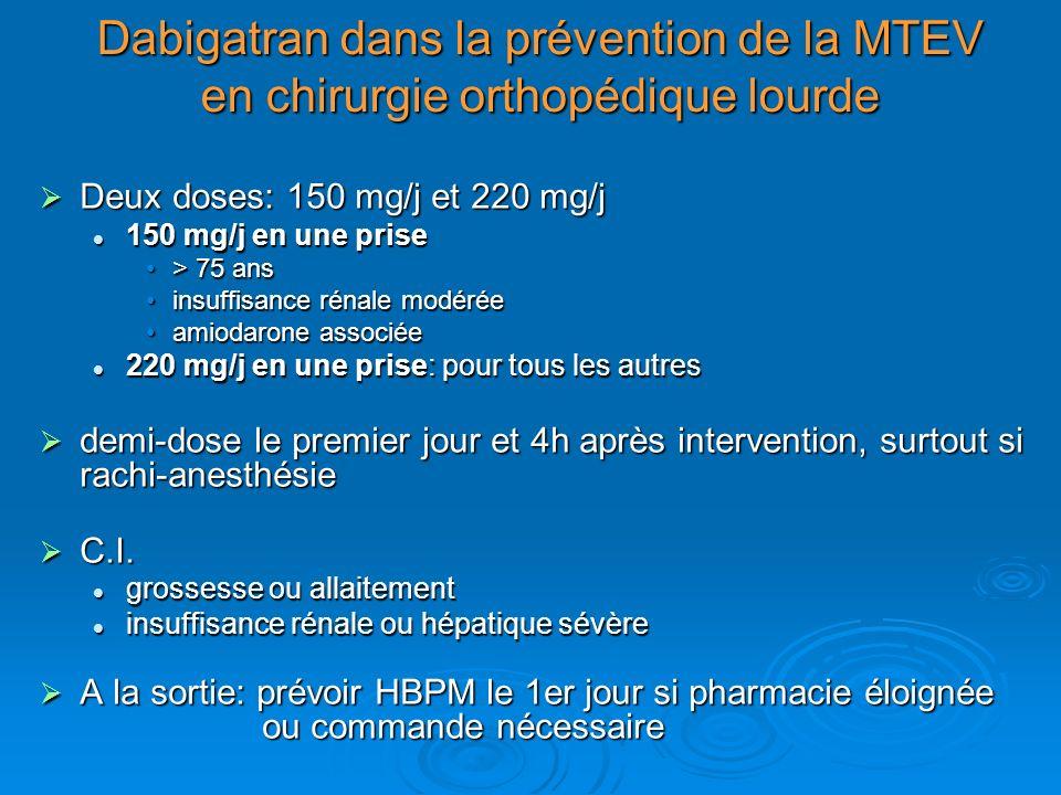 Dabigatran dans la prévention de la MTEV en chirurgie orthopédique lourde