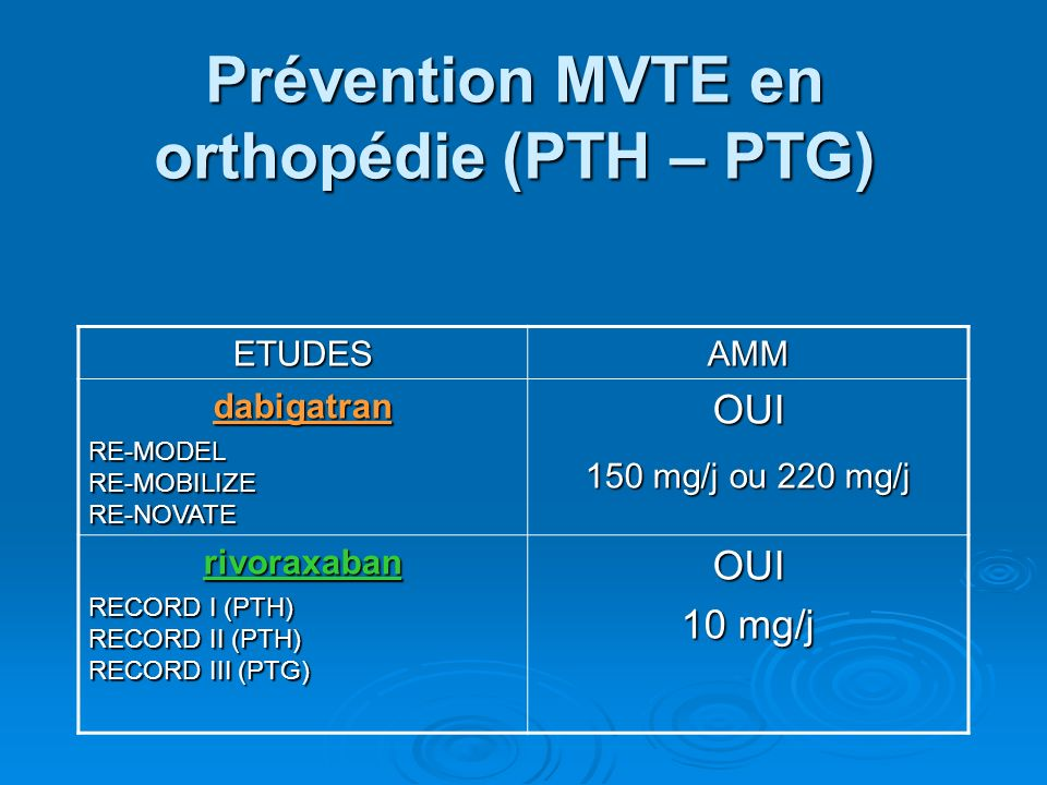 Prévention MVTE en orthopédie (PTH – PTG)