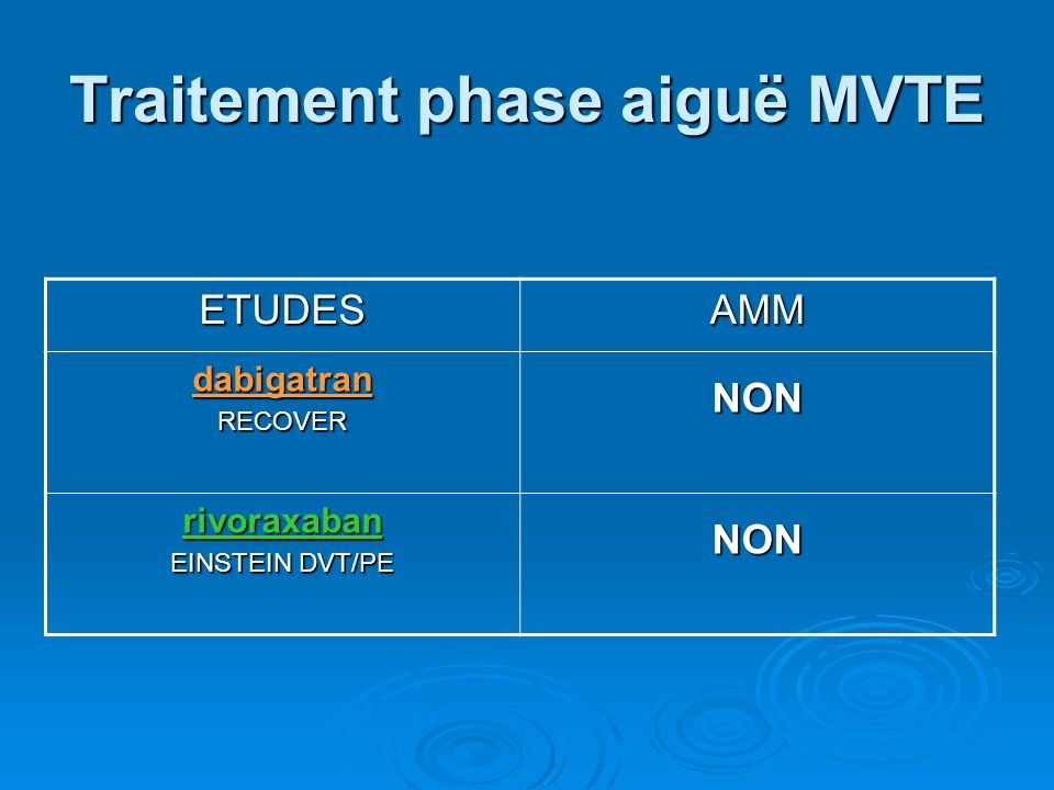 Traitement phase aiguë MVTE