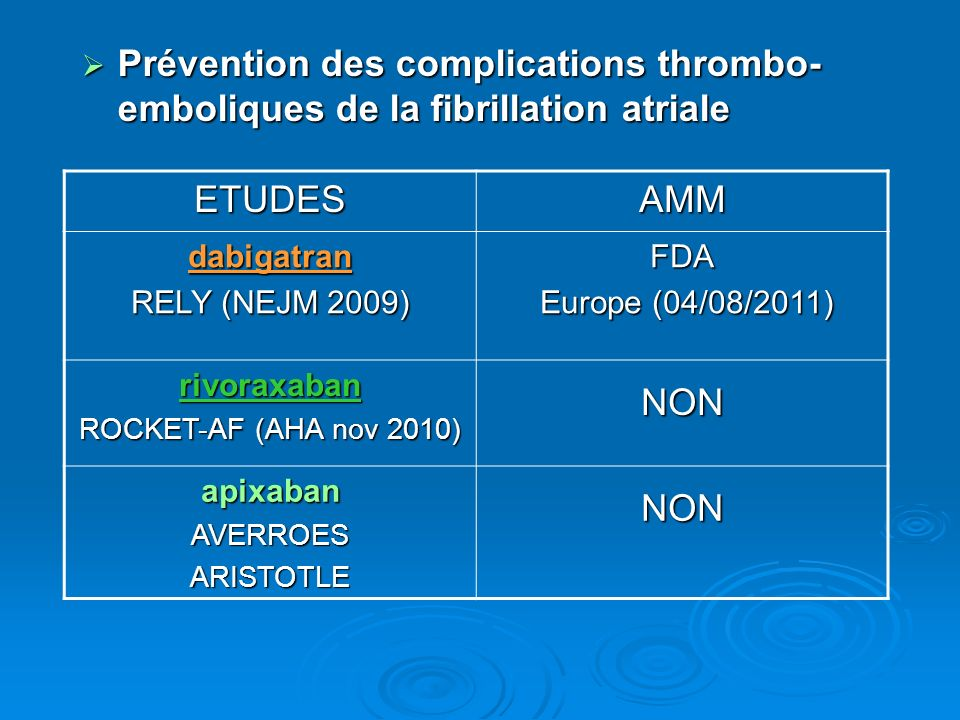 Prévention des complications thrombo-emboliques de la fibrillation atriale