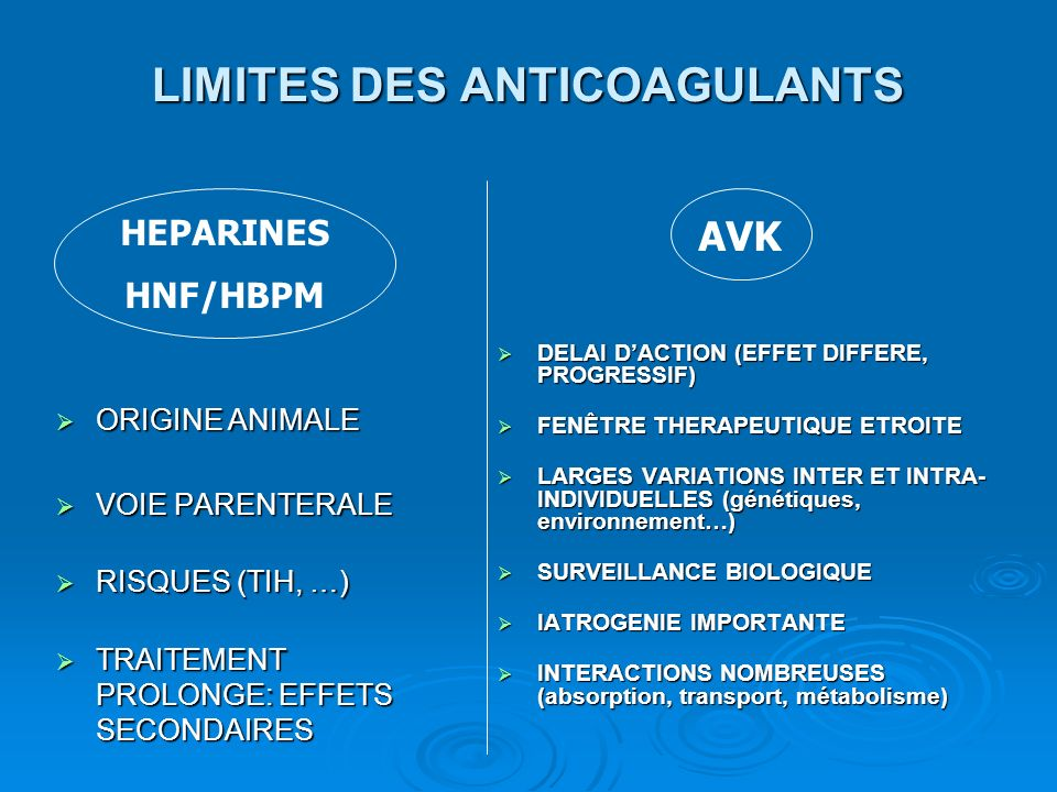 LIMITES DES ANTICOAGULANTS