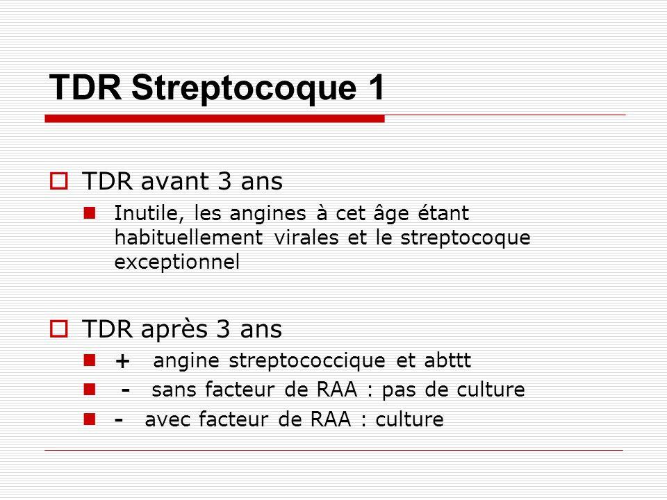 TDR Streptocoque 1 TDR avant 3 ans TDR après 3 ans