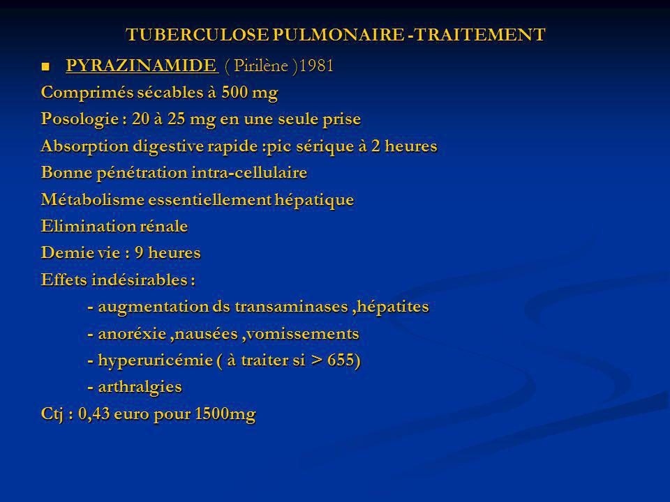 TUBERCULOSE PULMONAIRE -TRAITEMENT