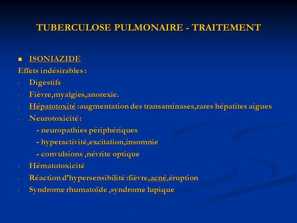 TUBERCULOSE PULMONAIRE - TRAITEMENT