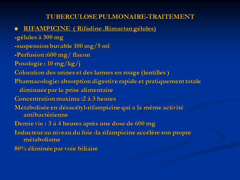 TUBERCULOSE PULMONAIRE-TRAITEMENT