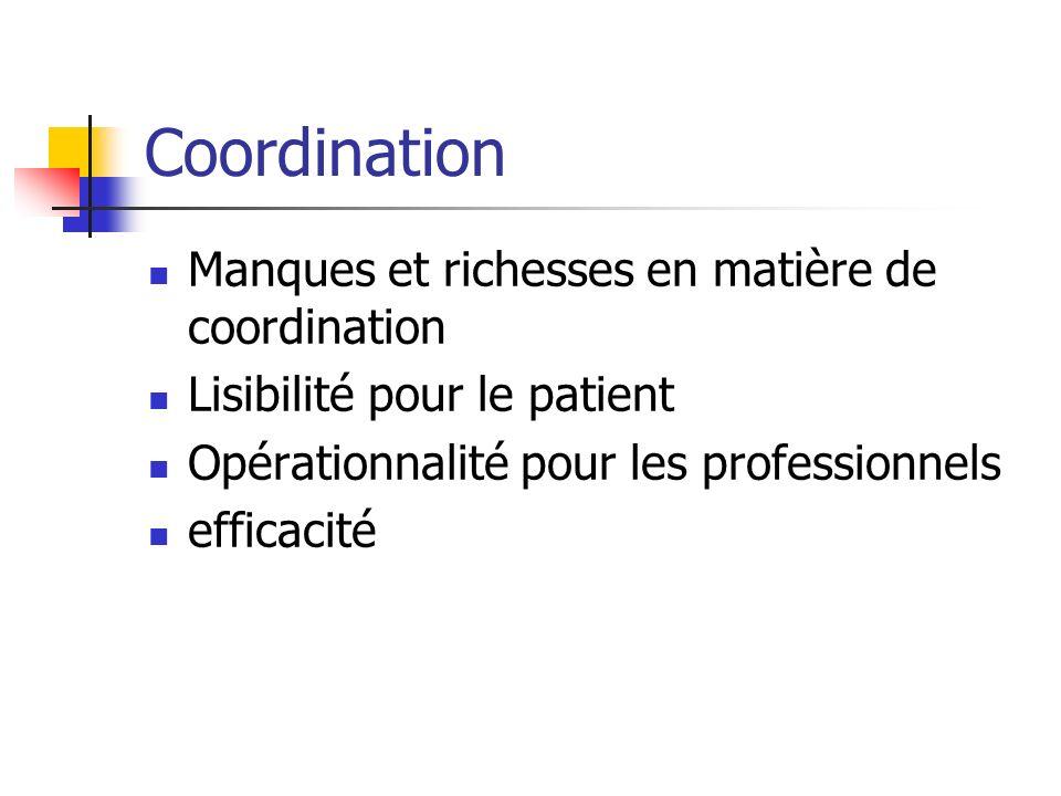 Coordination Manques et richesses en matière de coordination