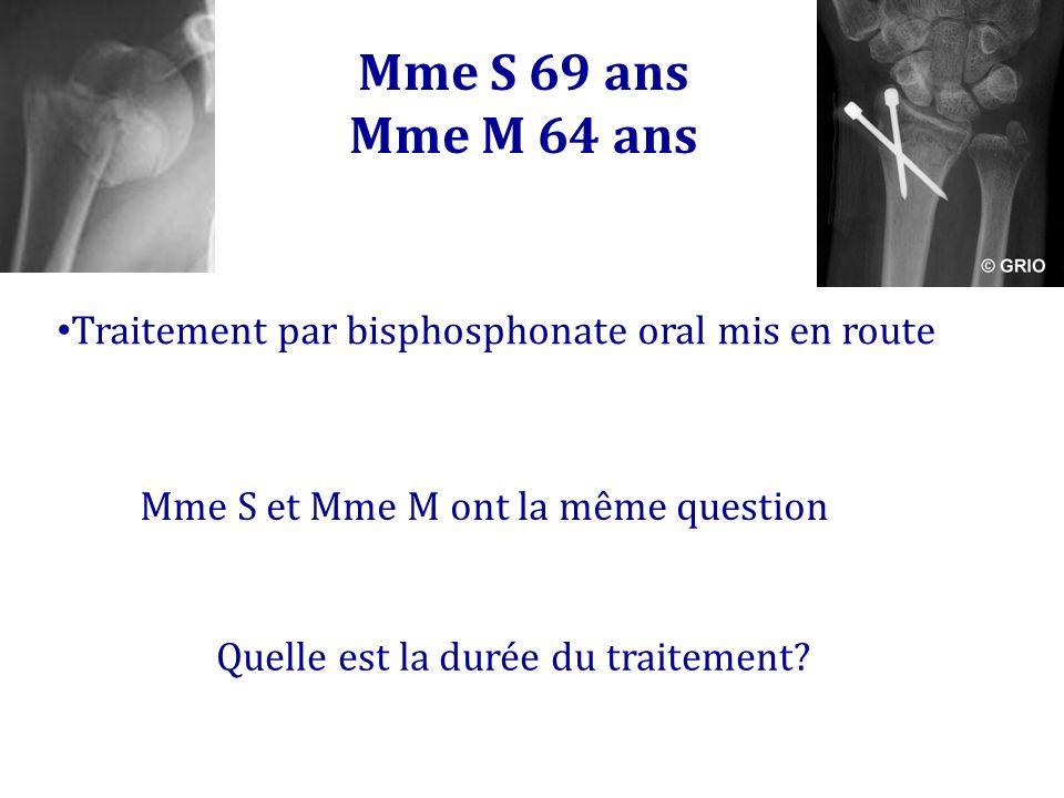 Mme S 69 ans Mme M 64 ans. Traitement par bisphosphonate oral mis en route. Mme S et Mme M ont la même question.