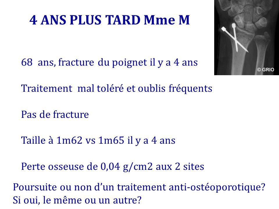 4 ANS PLUS TARD Mme M 68 ans, fracture du poignet il y a 4 ans
