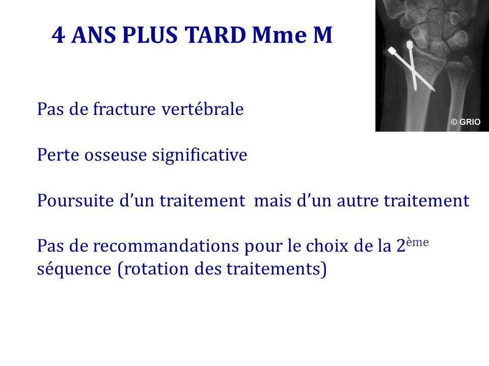 4 ANS PLUS TARD Mme M Pas de fracture vertébrale