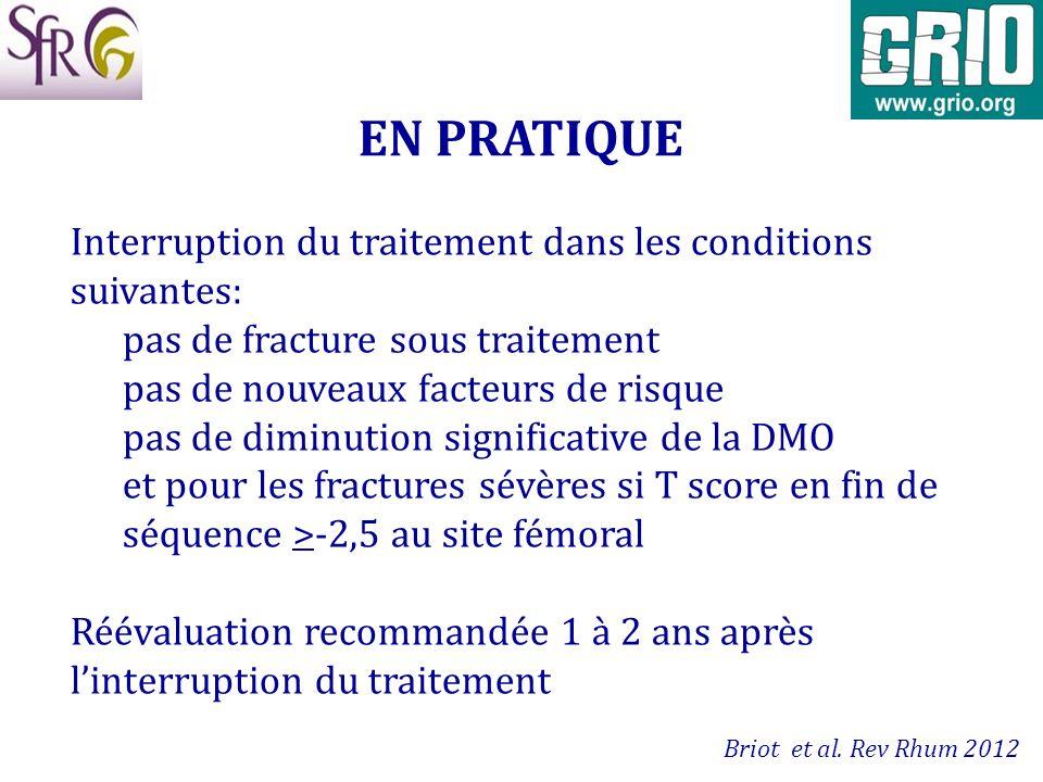 EN PRATIQUE Interruption du traitement dans les conditions suivantes: