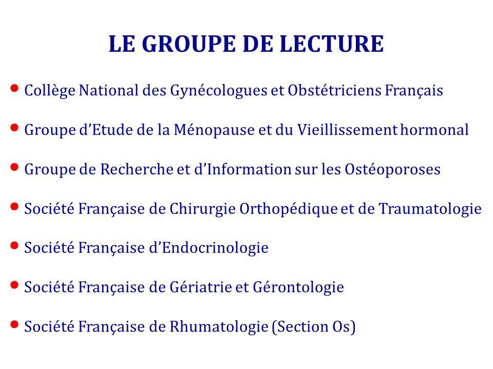 LE GROUPE DE LECTURE Collège National des Gynécologues et Obstétriciens Français. Groupe d'Etude de la Ménopause et du Vieillissement hormonal.
