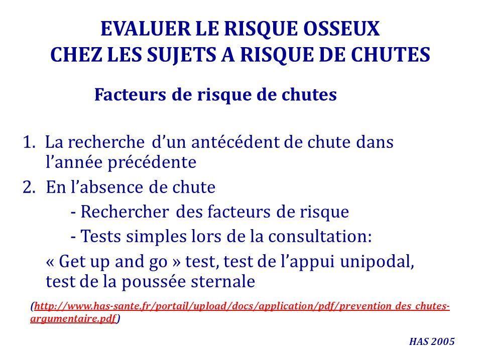 EVALUER LE RISQUE OSSEUX CHEZ LES SUJETS A RISQUE DE CHUTES