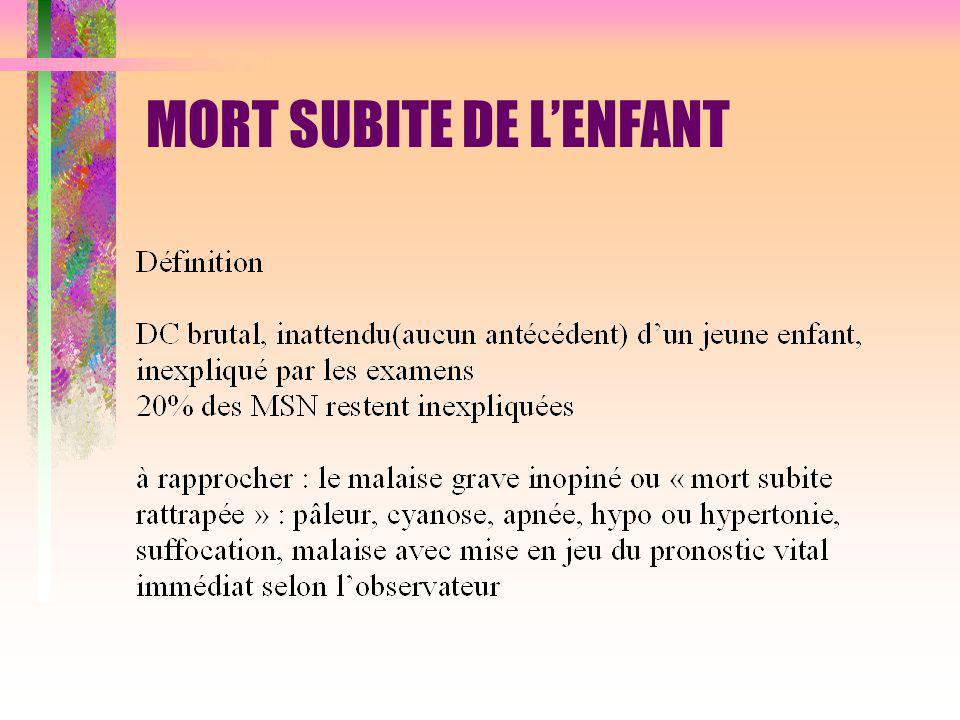 MORT SUBITE DE L'ENFANT