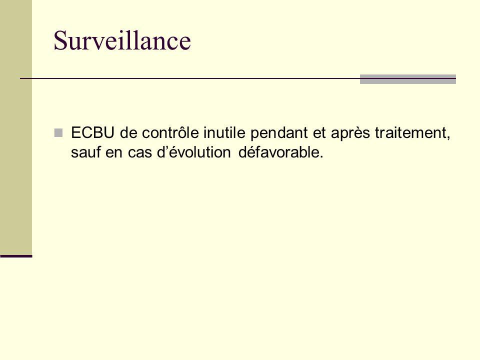 Surveillance ECBU de contrôle inutile pendant et après traitement, sauf en cas d'évolution défavorable.